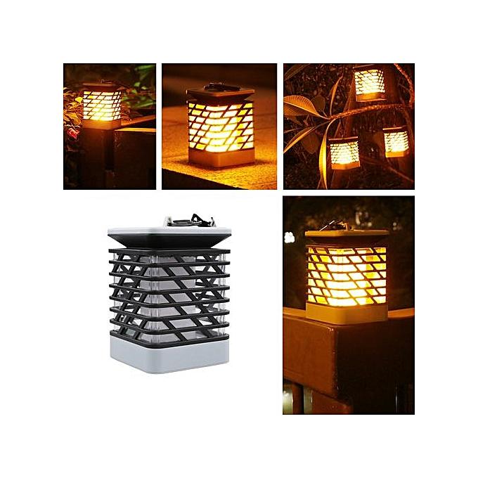 Generic Haojks-Solar Flame  Lawn Lamp LED Fire Light Realistic Waterproof Lamp Outdoor Garden D à prix pas cher