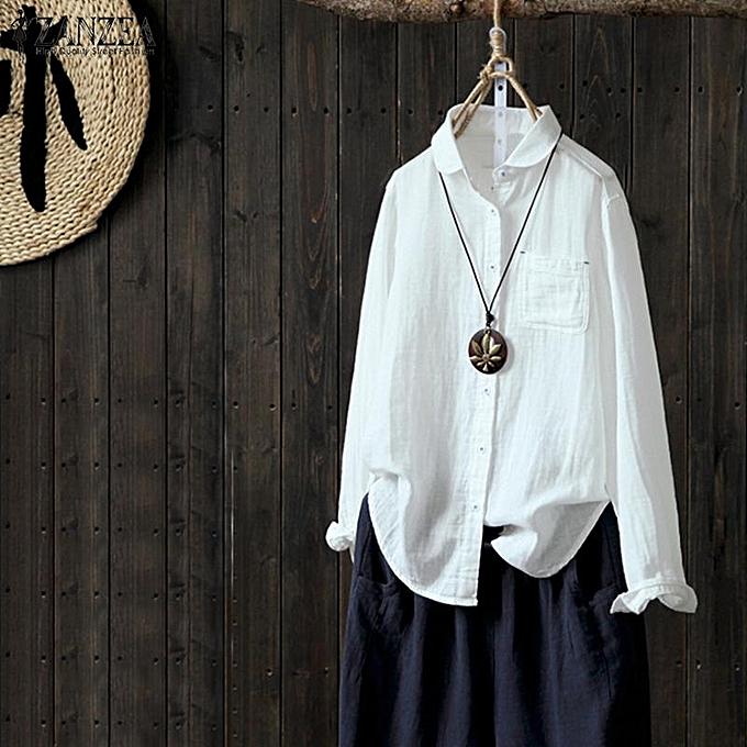 Zanzea T-shirt à hommeches longues ZANZEA pour femmes à col rabattu et à col rabattu à prix pas cher