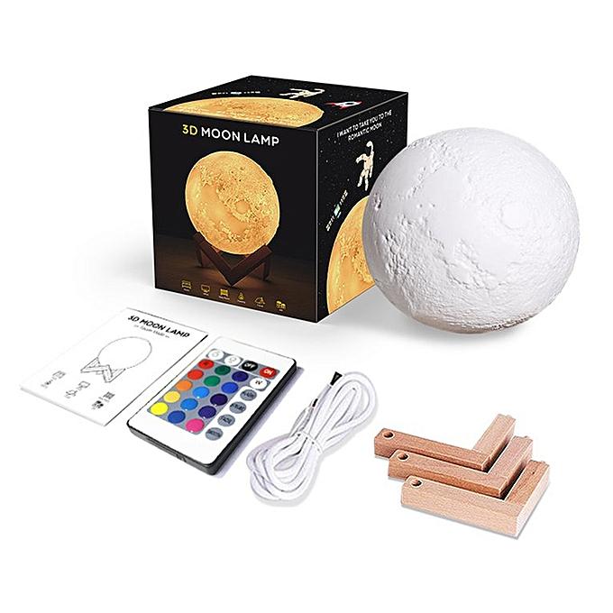 Generic Rechargeable 3D Print Moon Lamp 18CM Touch Switch Bedroom Bookcase Night Light 16 Couleurs à prix pas cher