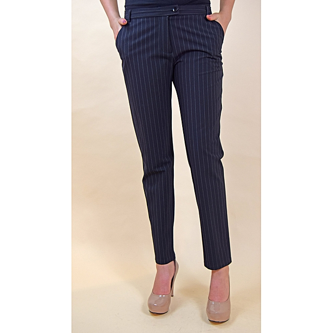 5cca9ab731 KIREE'S Pantalon Femme Droit à Rayures - Noir à prix pas cher ...