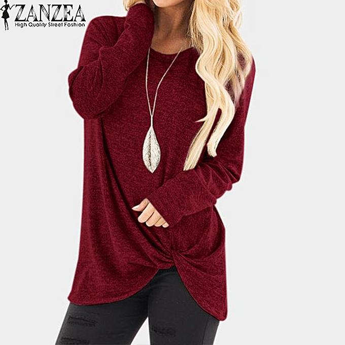 Fashion ZANZEA femmes Casual Plus Taille Front Knot Top T Shirt Tee Long Sleeve Blouse à prix pas cher