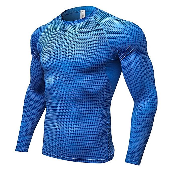 Other nouveau mode Hommes& 039;s manche longues Tight Elastic Training T Shirt -bleu à prix pas cher