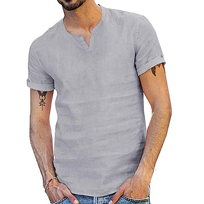 mode whiskyky store Hommes& 039;s été nouveau Style mode Pure Cotton And Hemp manche courte Comfortable Top à prix pas cher
