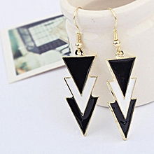 Women Elegant Three Layers Of Triangle Pendant Charm Black Earrings-Array c309cea068c8