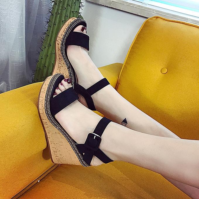 Fashion Xiuxingzi femmes Fish Mouth Platform High Heels Wedge Sandals Buckle Slope Sandals à prix pas cher    Jumia Maroc