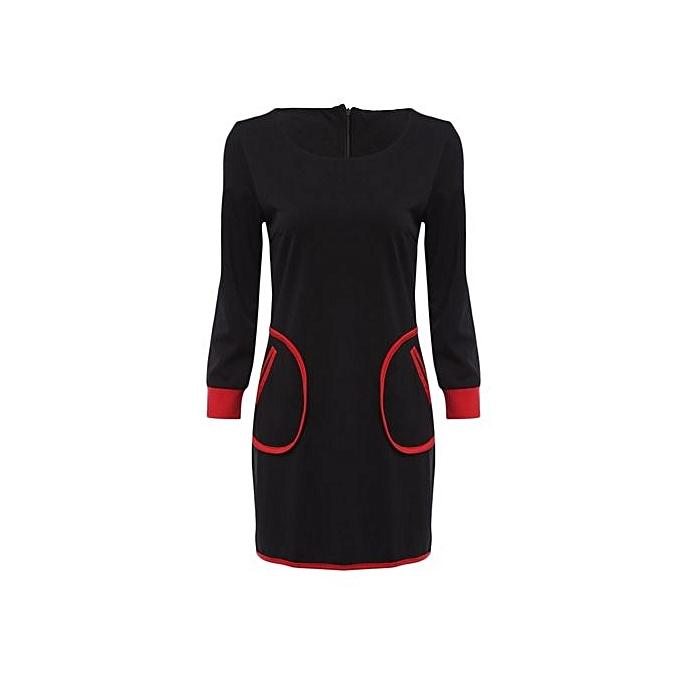 mode Trendy Round Collar manche longue Pocket Design Sheath Bodycon femmes Robe - noir à prix pas cher