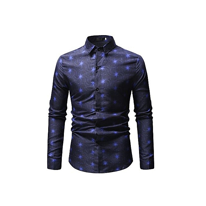 Other Men's Print Dress Shirt Long Sleeve Slim Fit Shirt -bleu à prix pas cher