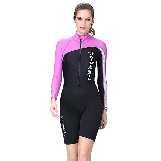 UNIVERSAL femmes 1.5mm Neoprene Snorkeling Wetsuit Scuba Sunscreen Long Sleeve Short Diving Suit, Taille  M à prix pas cher