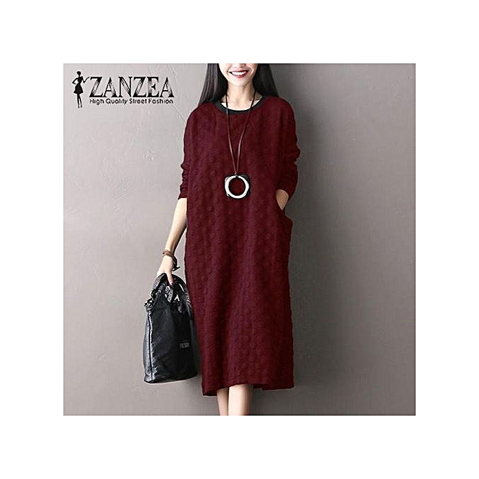 Generic ZANZEA Vintage femmes Round Neck Long Sleeve Pockets Loose Casual Mid-Calf Dress Autumn Kaftan Long Shirt Vestido (Wine rouge) à prix pas cher