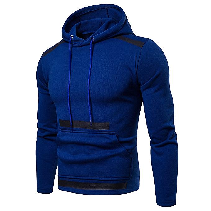Fashion Fashion Men's Long Sleeve Autumn Winter Patchwork Hoodies Top Blouse Tracksuits -bleu à prix pas cher