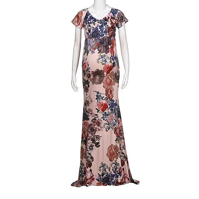 Fashion femmes Mother Photography Props Dresse Floral Off Shoulder Pregnants Dress à prix pas cher