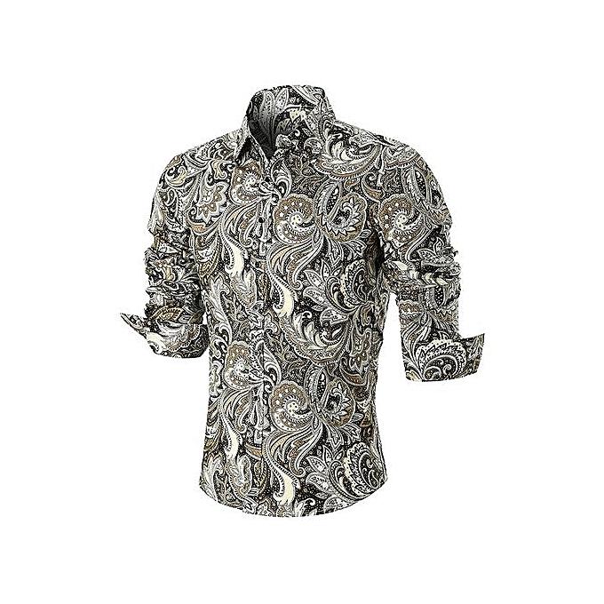 mode Curved Hem Paisley Print manche longue Shirt_CouleurMIX à prix pas cher