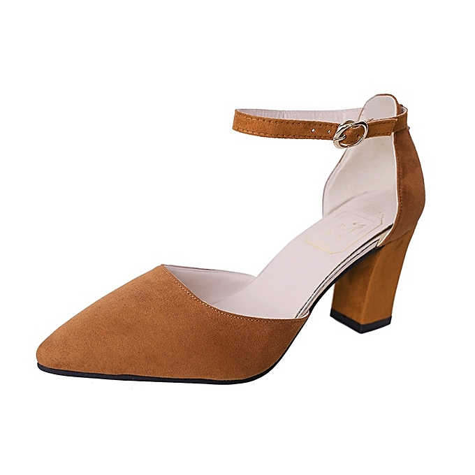 Other New Stylish Wohommes Elegant Buckle Sandals Thick Heel Single chaussures -marron à prix pas cher