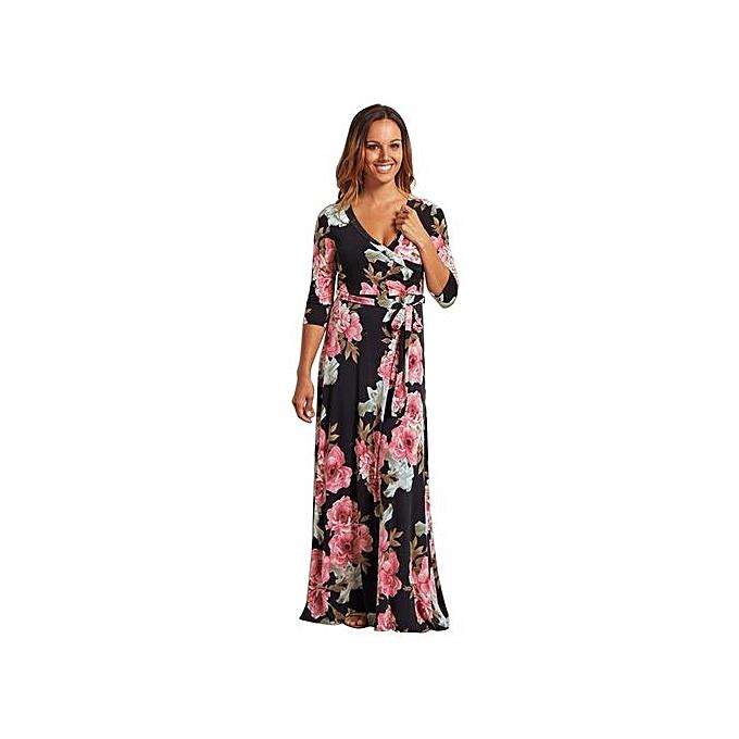 mode femmes Robe Sexy Deep V Neck plage Décontracté Tunic Vestidos Boho Floral Printed Pocket Long Maxi Robees-noir&rose à prix pas cher