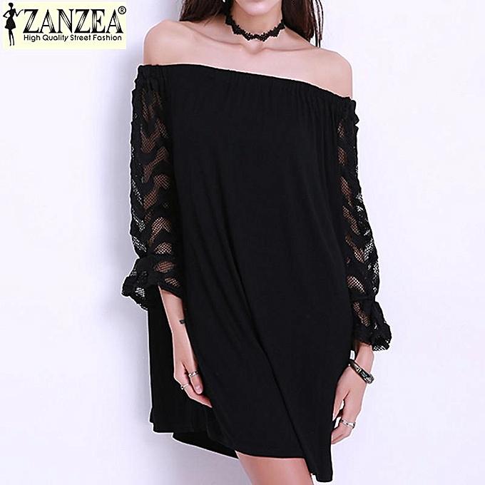 Zanzea ZANZEA Plus Taille S-4XL (MD) - Robe courte en dentelle à hommeches longues et à épaules dénudées pour femmes (noir) à prix pas cher