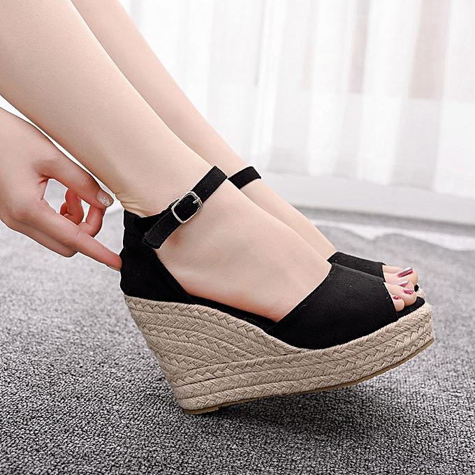 Generic Wohommes Bohemian Peep Toe Hemp Rope Large Taille Platform Sandal Wedges chaussures à prix pas cher    Jumia Maroc