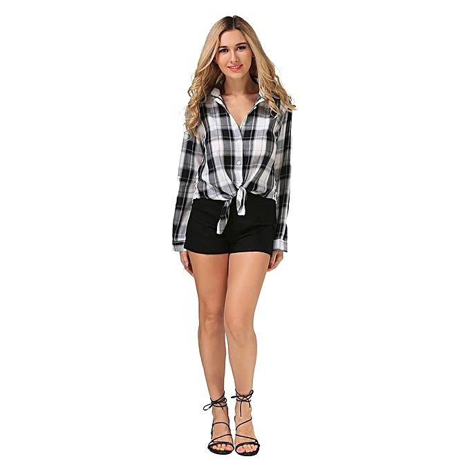 mode femmes manche longue Plaid Décontracté Button Shirt chemisiers à prix pas cher