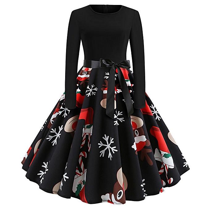 OEM Nouveau ladies explosion de Noël rétro col rond impression hommeches longues grande robe-multi1 à prix pas cher