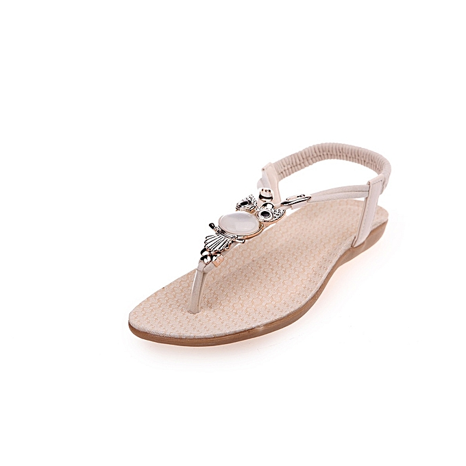 Other Summer Fashion Leisure Bohemia beads toe clip Beach Sandals-Beige à prix pas cher