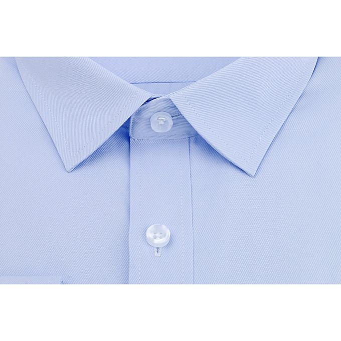 Fashion jiahsyc store Men's Solid Couleur Twill Long Sleeve Business Formal Shirts Clothing Blouse BU 37 à prix pas cher