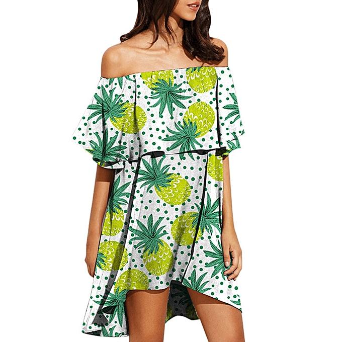 Generic Fovibery femmes Print Off The Shoulder manche courte Print Boho Robe été Mini Robe à prix pas cher