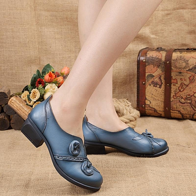 Fashion SOCOFY Fashion Flower Retro Mid Mid Mid Heel  Folkways Handmade WoHommes  Boat Loafers Shoes à prix pas cher  | Jumia Maroc 4c4b1e