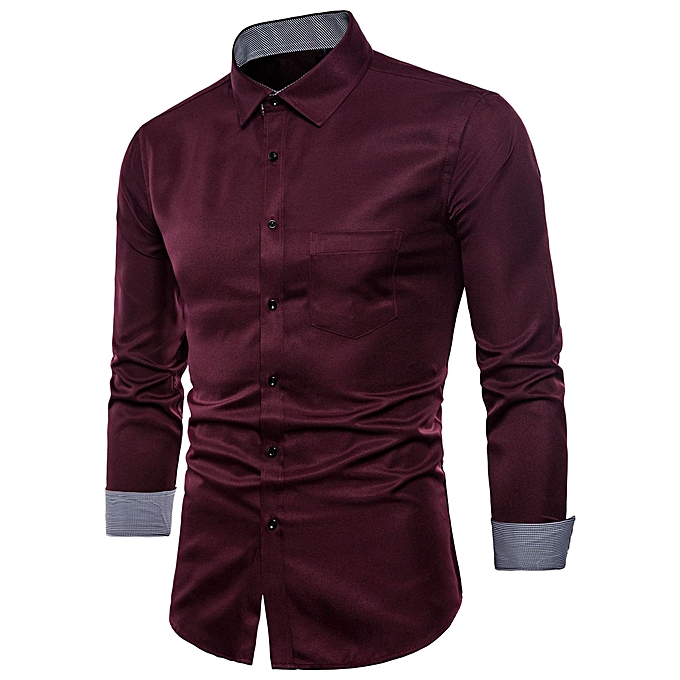 Fashion Mens Long Sleeve Oxford Formal Casual Suits Slim Fit Tee Shirts Blouse Top WE XL à prix pas cher
