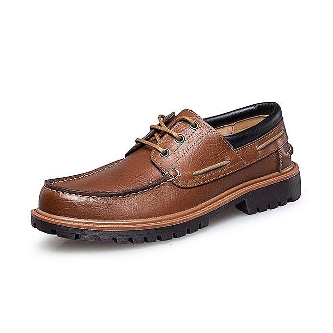 Fashion Large Size  Round  Genuine Leather Breathable Round  Toe Soft Casual Shoes-EU à prix pas cher  | Jumia Maroc 6a9823