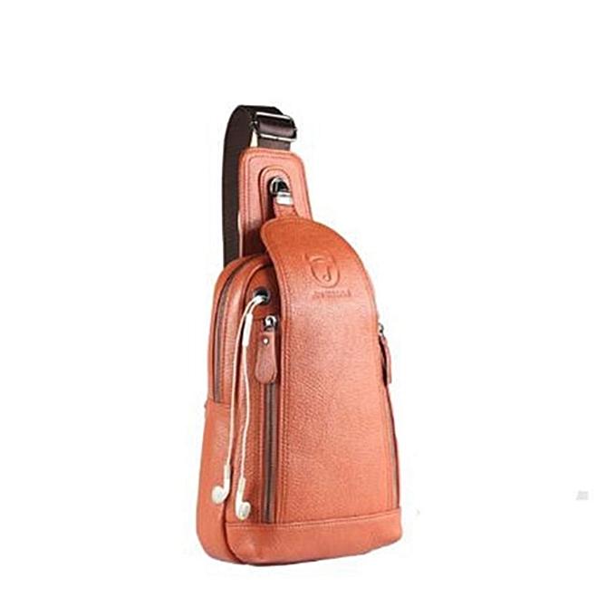 Fashion Men Genuine Leather Sling Chest Shoulder Bag Crossbody Satchel Sports Backpack marron à prix pas cher