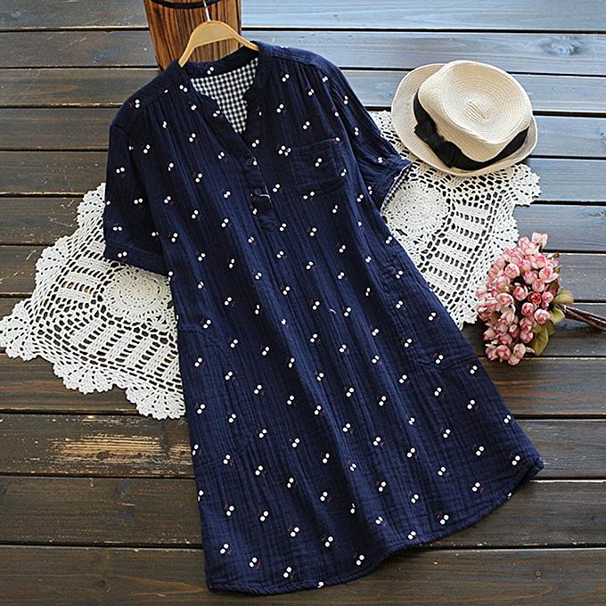 Fashion femmes Fashion Print Large Taille Wild Printed Short Sleeved Cotton Long Shirt à prix pas cher