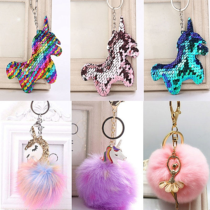 Autre Kawaii Unicorn Plush Toys Fluffy Fur Pom Pom Metal unicornio Keyring femmes Girls Bag Hang Pendant Kids Birthday Easter Gift Toy(style 2 06) à prix pas cher
