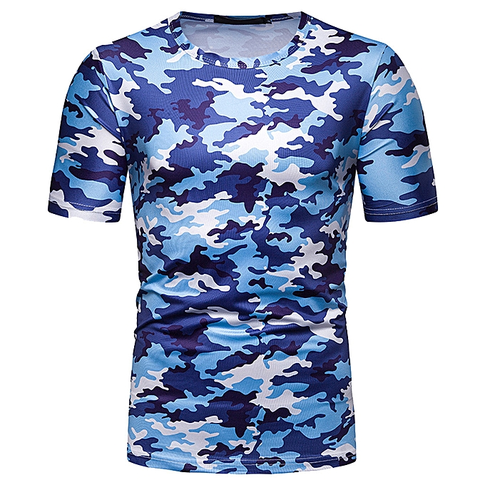 Fashion whiskyky store Summer Men's Fashion Casual Round Collar Camouflage Short Sleeve Top Blouse à prix pas cher