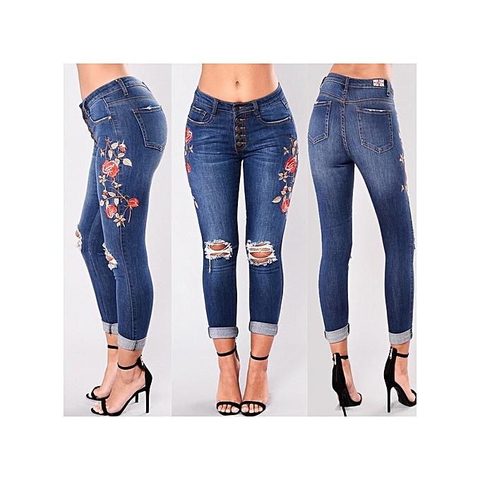 OEM nouveau hole embroiderouge high-elastic jeans female Décontracté pocket skinny pencil jean mode  pants jeans femmes trousers-dark bleu à prix pas cher