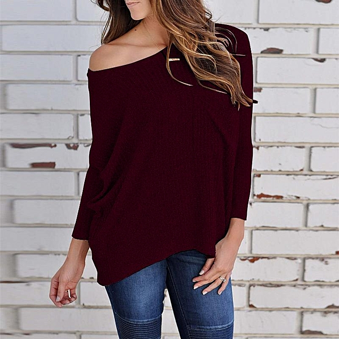 Fashion ZANZEA femmes Off Shoulder Rib Knit Shirt Tops Casual Blouse Jumper Batwing Tops Wine rouge à prix pas cher