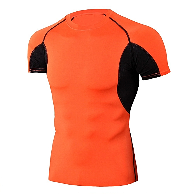 Other mode Orange noir Patchwork Fitness Gym Quick Dry Stretch hauts Sport T Shirt  -TD89 à prix pas cher