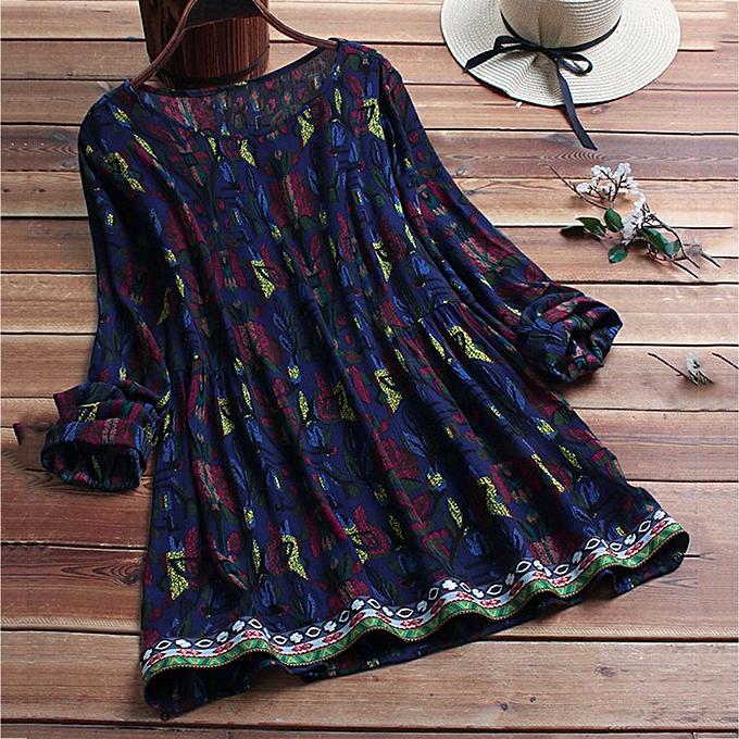 Fashion (Xiuxingzi)  femmes Casual Plus Taille Loose Linen Sleeve  Print Tanic Shirt Blouse à prix pas cher