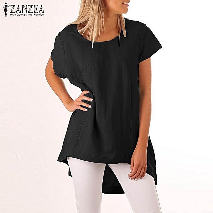 Fashion ZANZEA femmes Casual Plus Taille Top Tee T-Shirt Short Sleeve Tunic Blouse à prix pas cher
