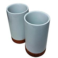 Pack de deux tasses droites en porcelaines avec pieds en bambou  multifonction 89b46856cb87