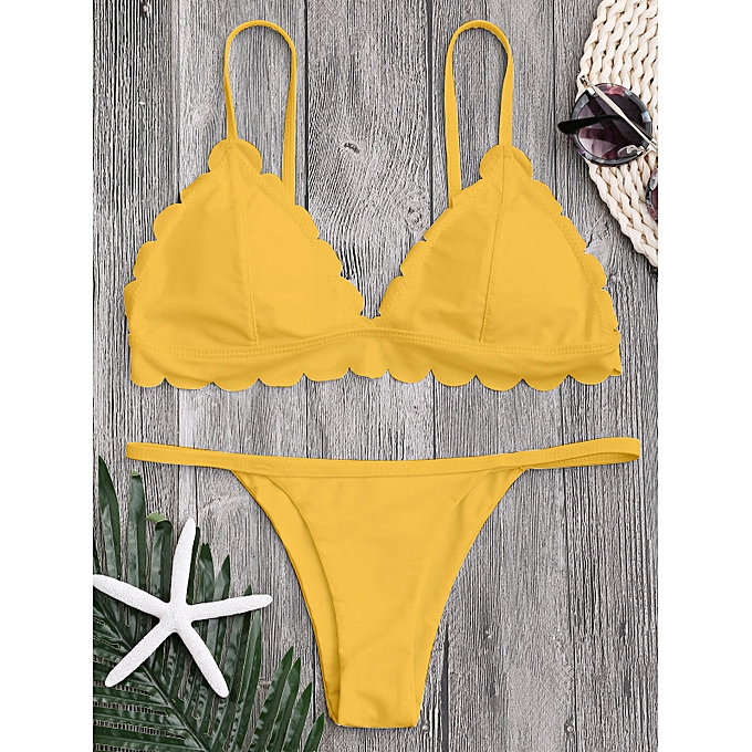 Generic HL Scalloped Hem Low Waisted Thong Bikini (jaune) (M, L, S) à prix pas cher