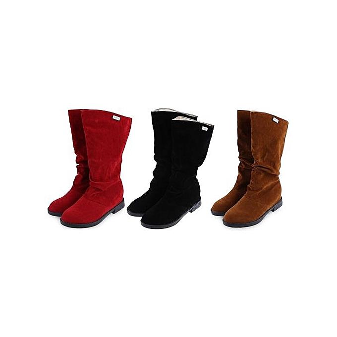 Fashion Elegant Pure Color Flat Sole High Leg Boots For WoHommes WoHommes For  à prix pas cher  | Jumia Maroc b73f02
