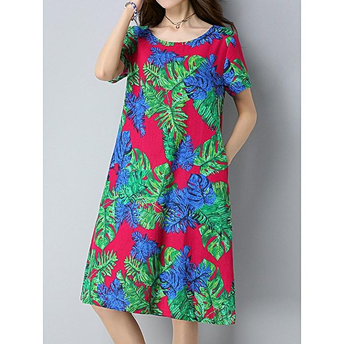 mode Vintage femmes Floral Printed Robe manche courte Pockets Cotton Linen Robees à prix pas cher