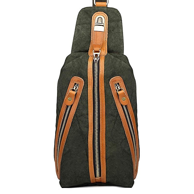 UNIVERSAL Men Retro Canvas Crossbody Bag Chest Bag Fashion Sling Bag  dark vert à prix pas cher