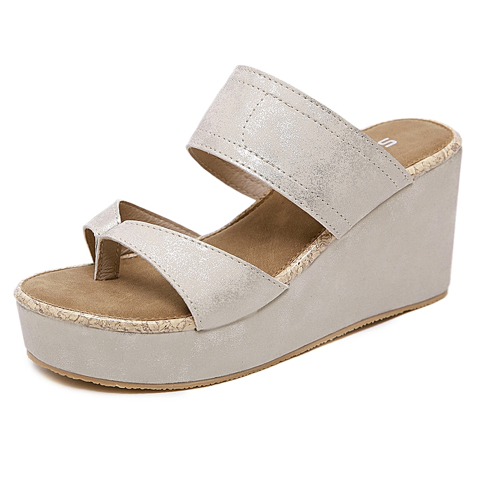 Fashion Female sling wedges with light plus Taille pinch comfortable slippers à prix pas cher