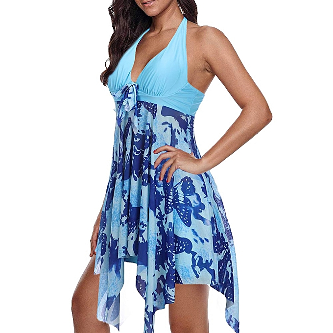 Other Plus Taille Swimwear 5XL femmes One Piece Swimsuit Skirt Padded Bra Tankini Bathing Suit 6XL Female Big beachwear(sky bleu) à prix pas cher