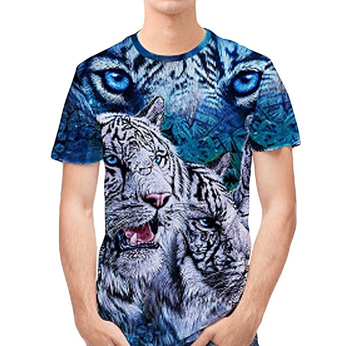 Fashion Jummoon Shop Personality Mens 3D Print Tiger Casual Slim Short-sleeved Shirt Top Blouse à prix pas cher
