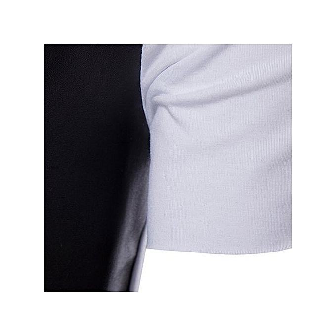 mode Xiuxingzi_Hommes T-shirt Irregular Cotton manche courte Hedging Slim Fit chemisier BK XL à prix pas cher