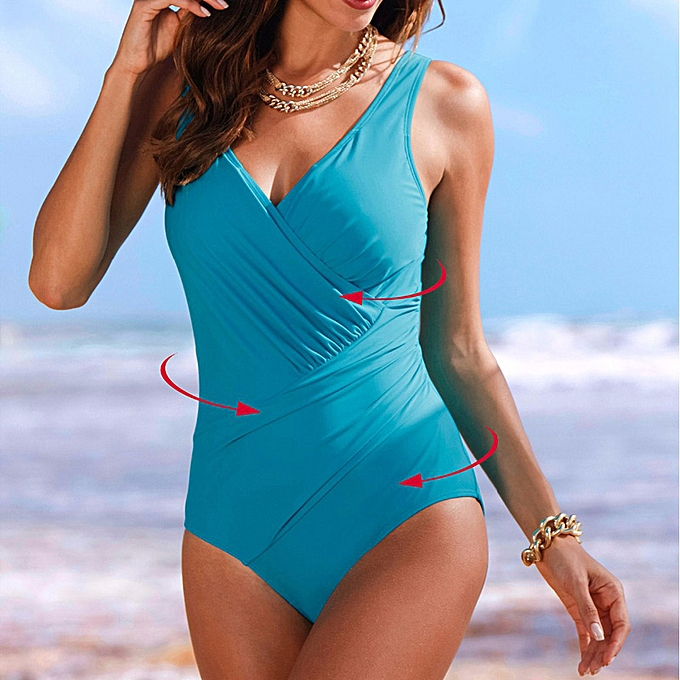 Autre New Summer push up backless Leotard female fold style solid swimsuit large Taille swimwear Bathing suit femmes(Sky bleu) à prix pas cher