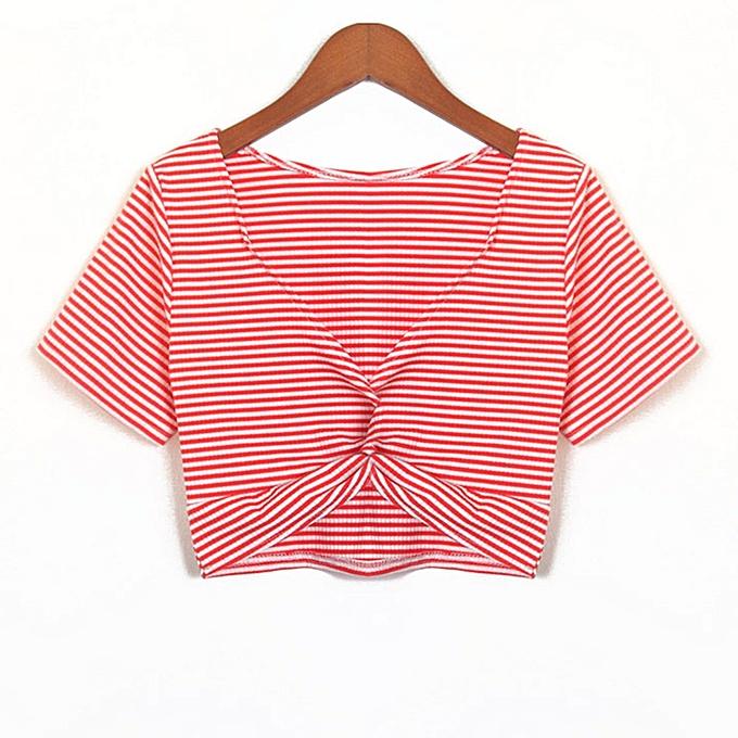 Generic Generic femmes& 039;s rayé Loose manche courte été Crop T-Shirt Tunic hauts chemisier  A1 à prix pas cher