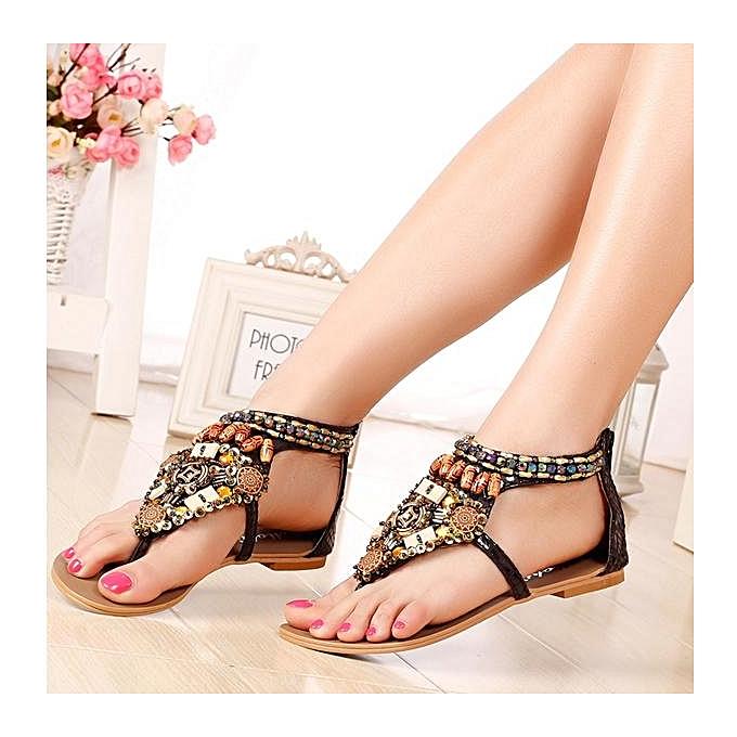 Fashion Fashion femmes Bohemia Bead Chain Couleur National Wind Vintage Clip Toe Zipper Flat Sandals à prix pas cher