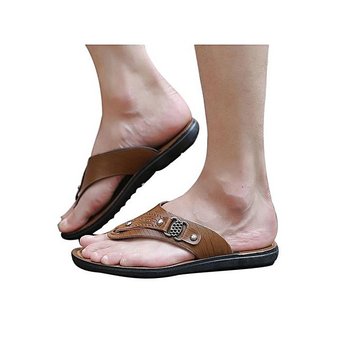 mode Xiuxingzi_Hommes été plage chaussures Slippers Flip-Flops Comfortable plage chaussures Soft Sandal à prix pas cher